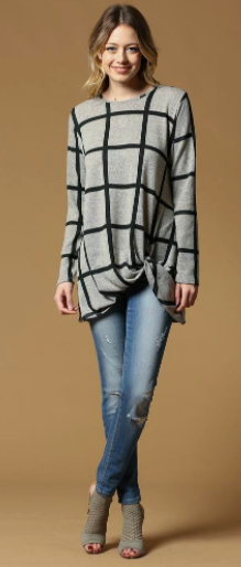 Ces Femme Plaid Long Sleeve Top
