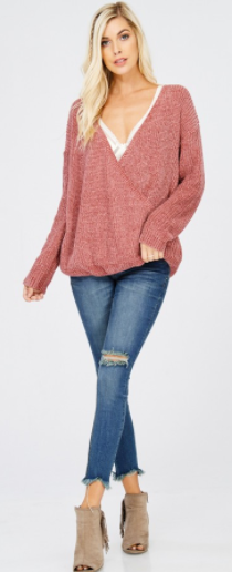 Wishlist Reversible Wrap Chenille Sweater