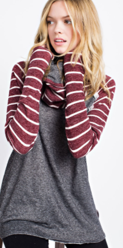 12PM by Mon Ami Striped Cowl Neck Sweater