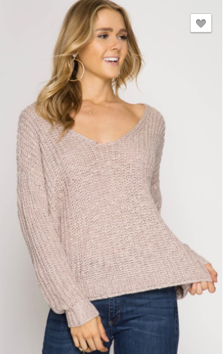 She + Sky Sweater w/ Twist Back Detail