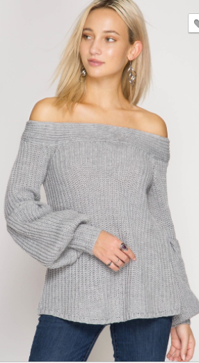 She + Sky Balloon Sleeve Off Shoulder Sweater