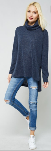 Promesa Mock Neck Ribbed Sweater/