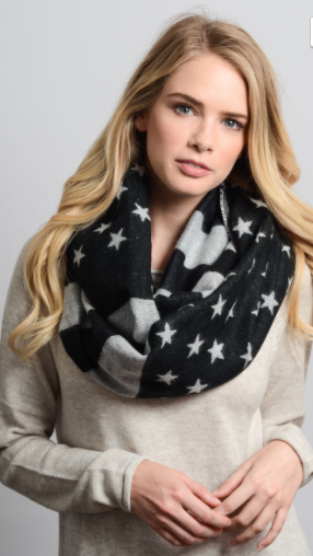 Leto Woven Chunky American Flag Infinity Scarf