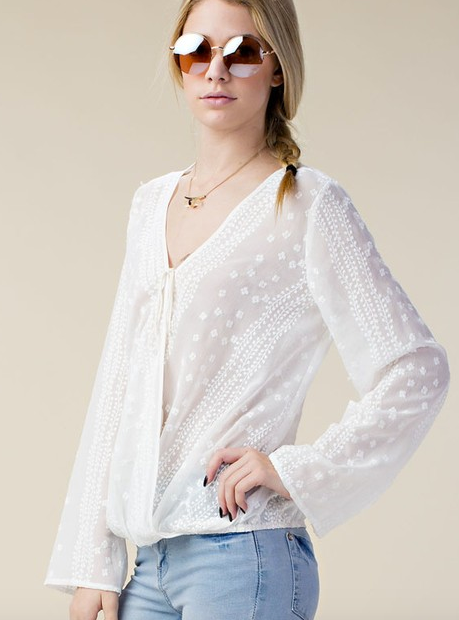 Chloah Blossom Embroidered Sheer Top