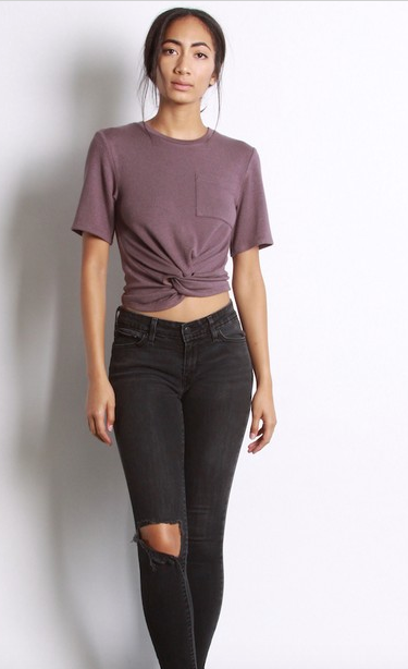 Mod Ref cropped tee with front knot + pocket