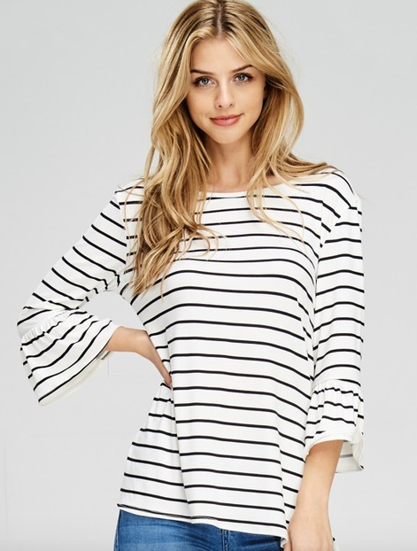 B-Tween 3/4 bell sleeve striped top