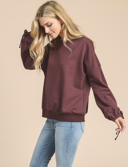 Doe & Rae Pull Over Sweater w/ Balloon Sleeves