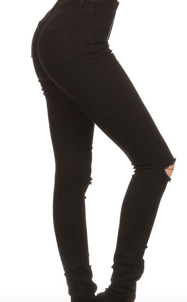 Encore High Rise Knee Cut Skinny Jeans