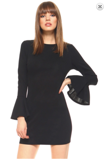 TCEC Long Bell Sleeve Bodycon Dress