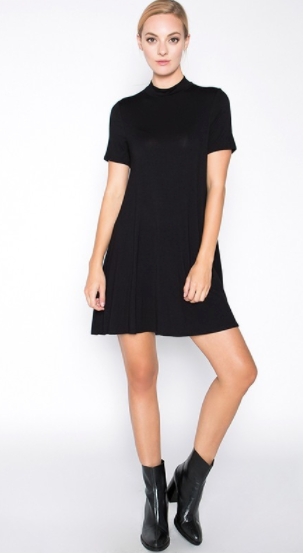 Dedication Jersey Mock Neck Mini Dress
