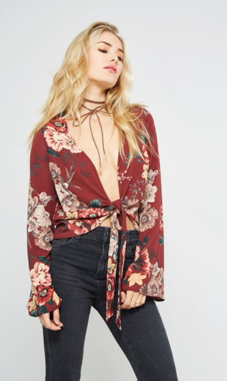 Promesa Floral Self Tie Top w/ Bell Sleeves