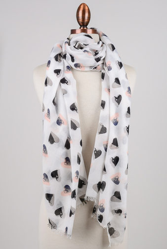 FAME Two Tone Heart Scarf