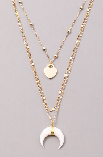 FAME Crescent Heart Layered Choker