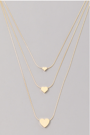 FAME 3 Tier Solid Heart Charm Layered Necklace