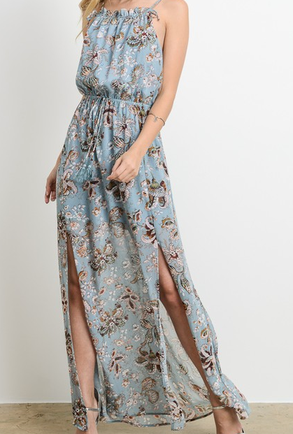 Charme U halter neck maxi dress