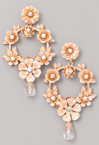Fame fiona flower cluster drop earrings