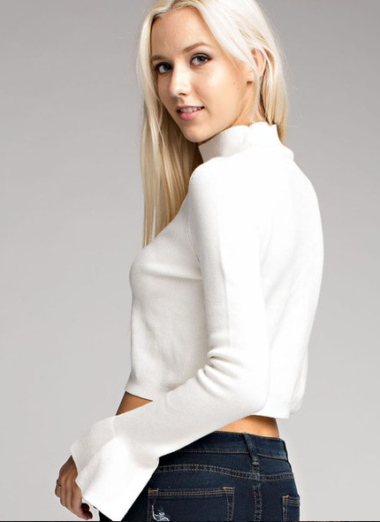 Wild Honey knit sweater with flutter sleeves