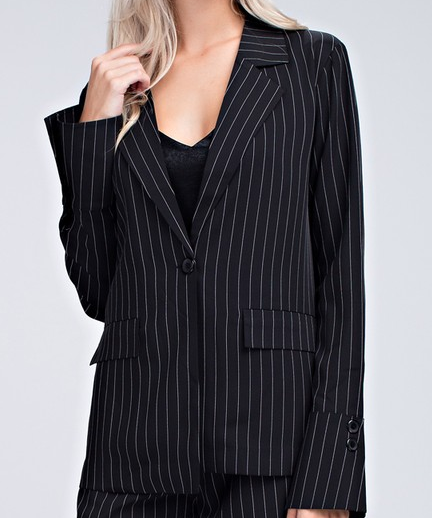 Wild Honey striped blazer w/ flared cuffs