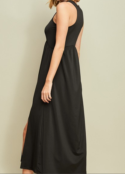 Entro high neck midi dress with side slits