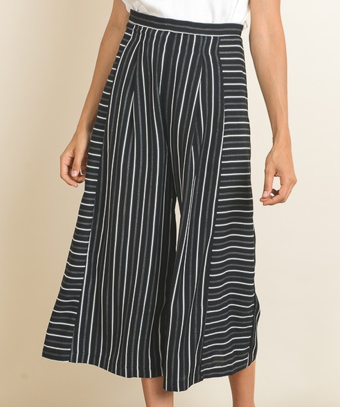 Doe&Rae striped culottes w/ pleat front and fold sides