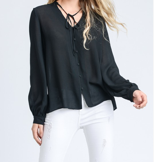 Doe&Rae blouse with neck tie and shell buttons