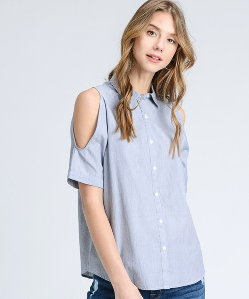 Doe&Rae cold shoulder short sleeve button down top