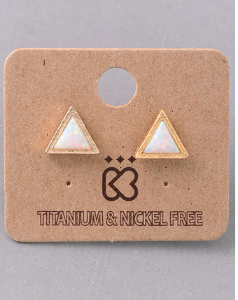 Fame simple triangle opal stone studs