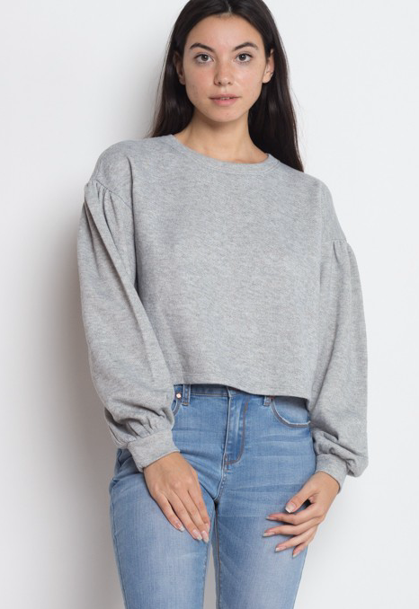 Iris sweater with puff sleeves&eyelet back detail