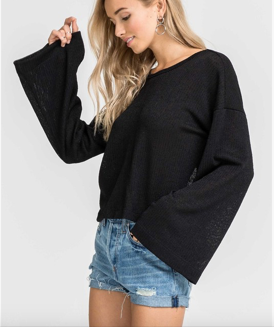 Lush Wide SLeeve Twisted Back Sweater
