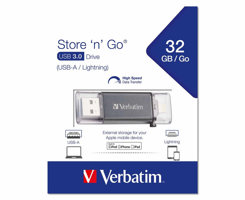 Verbatim iStore 'n' Go USB 3.0 Flash Drive with Lightning® Connector (32GB)