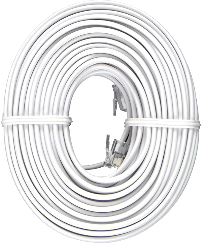 Power Gear Phone Line Cord 50ft (White)