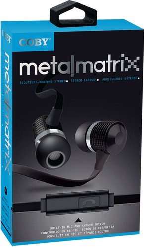 Coby MetalMatrix Stereo Earbuds with Mic