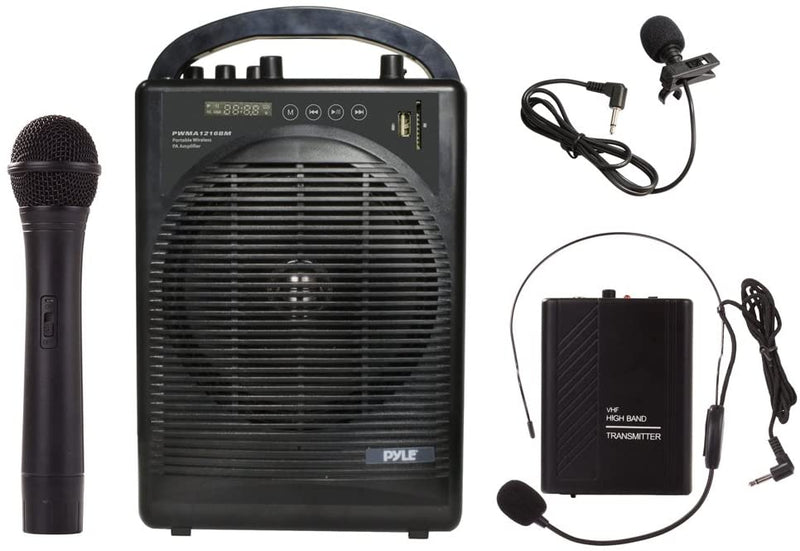 Pyle PWMA1216BM Portable Outdoor PA Speaker Amplifier System & Microphone Set with Bluetooth Wireless Streaming