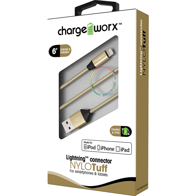 "Chargeworx ""NYLO"" Tuff 6ft Lightning Sync & Charge Cable (Gold)"