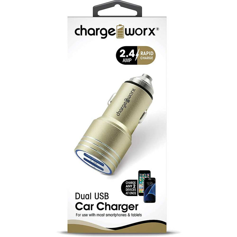 Chargeworx 2.4 Dual USB Car Charger with Escape Hammer (Gold)