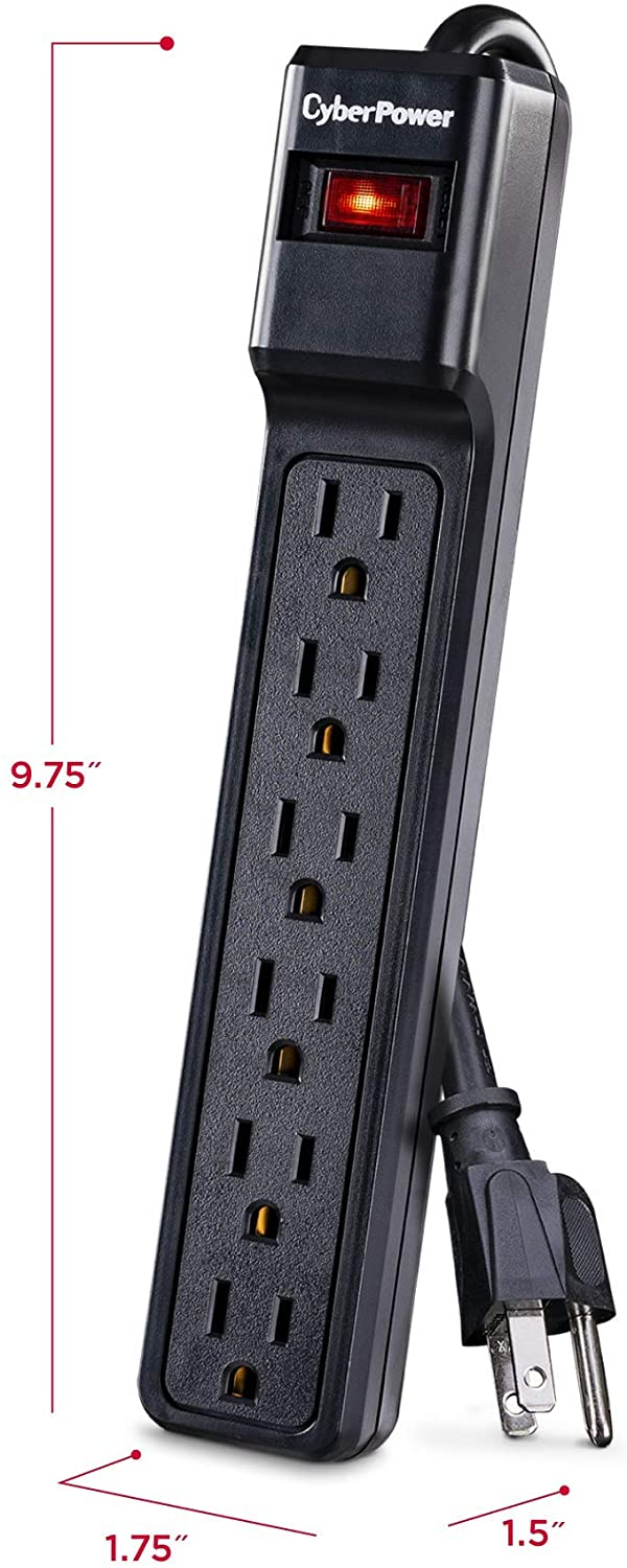 CyberPower CSB604 6-Outlet Essential Surge Protector with 4ft Power Cord