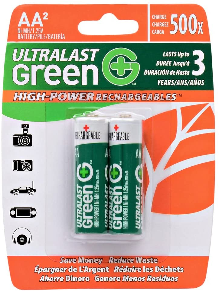 Ultralast Green High-Power Rechargeable AA Batteries (2 pack)