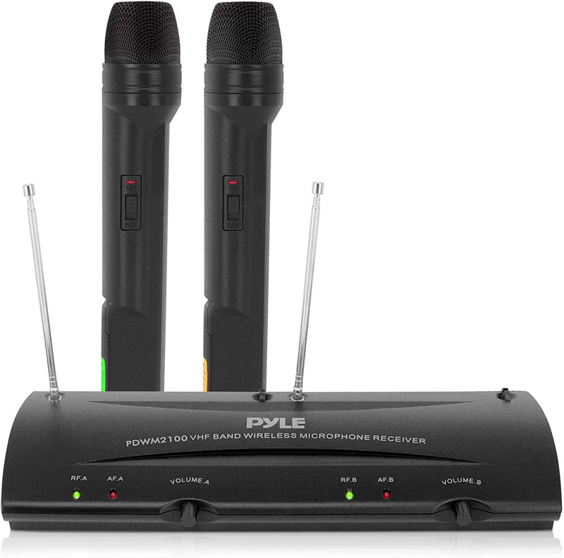 Pyle PDWM2100 Dual Channel VHF Professional Wireless Microphone System Set