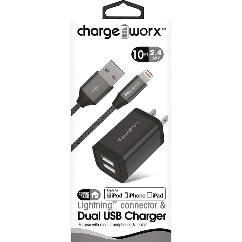 Chargeworx 2.4A Dual USB Metal Wall Charger & 10ft Lightning Cable (Black)