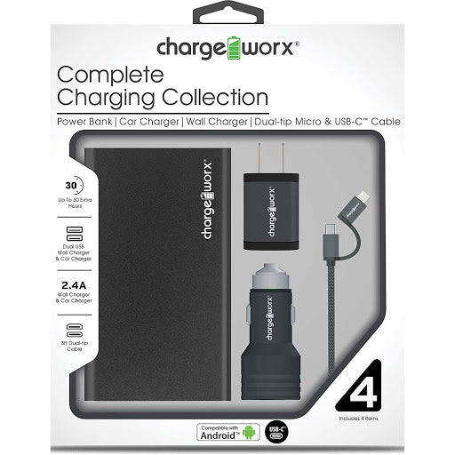Chargeworx Complete Charging Collection with Dual-tip Micro & USB-C (Black)