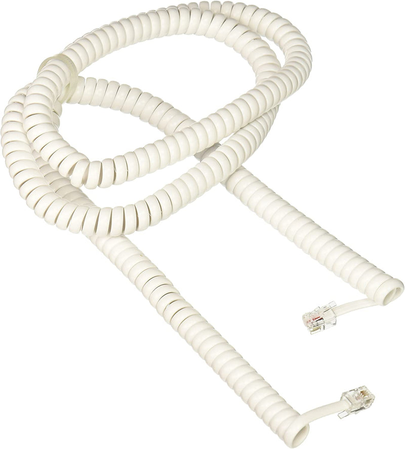 RCA Phone Coil Cord 25ft (White)