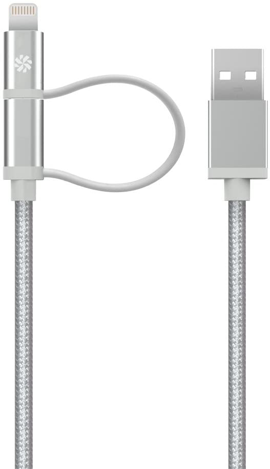 Kanex 4ft Micro-USB ChargeSync Cable with Lightning Connector Adapter (Silver)