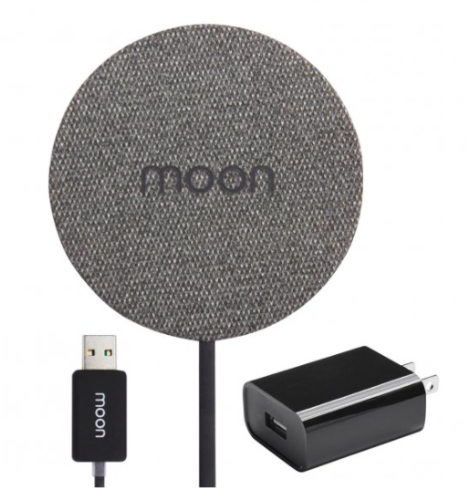 Moon Qi-Enabled Wireless Charging Pad with QC 3.0 Wall Charger (Fabric)