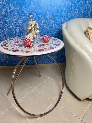 marble stainless steel side table