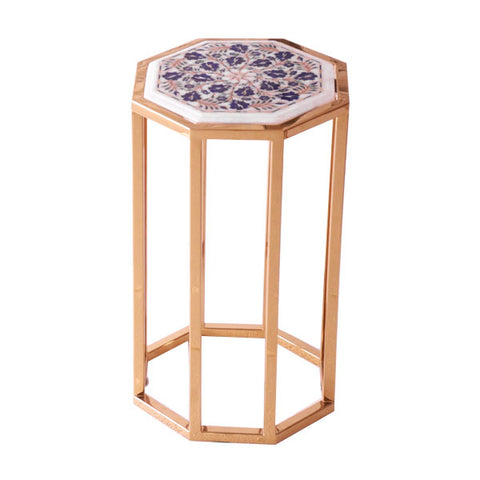 marble inlay stainless steel table