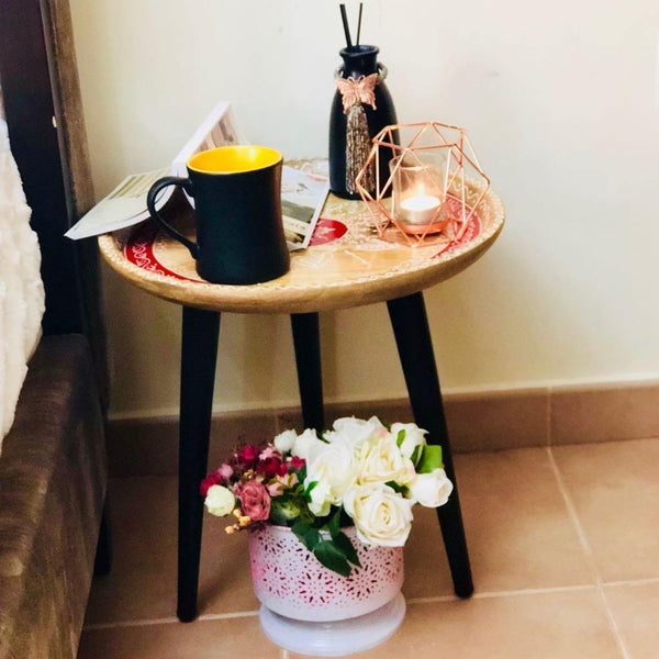 Side Table With Iron Legs - Min Ayn Home Home Decoration Ideas
