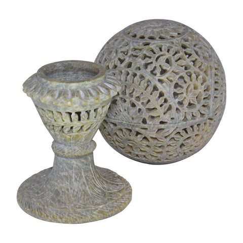 Marble Candle Holder Ball With Pedestal - Min Ayn Home Home Decoration Ideas