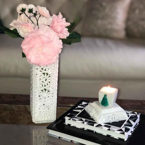 White Marble Candle Holder - Min Ayn Home Home Decoration Ideas