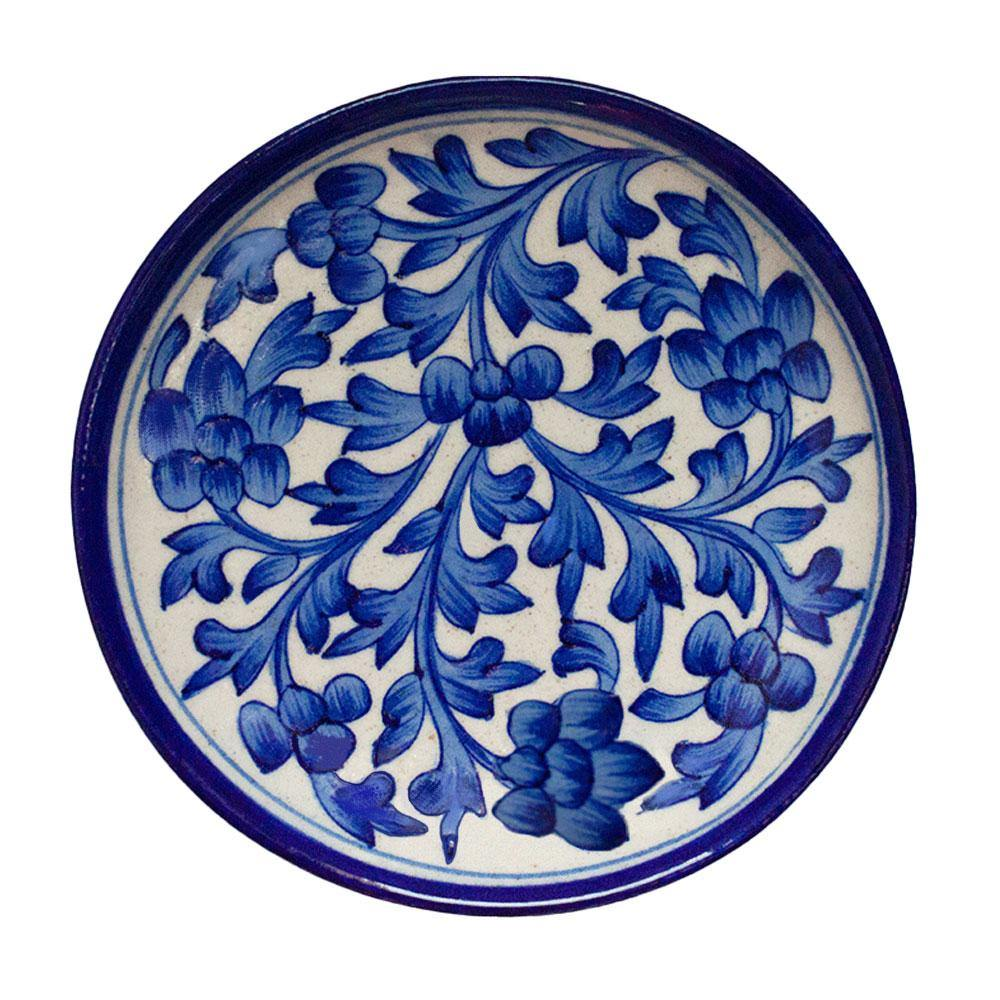 Blue Plate With Floral Design - Min Ayn Home Home Decoration