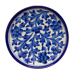 Blue Plate With Floral Design